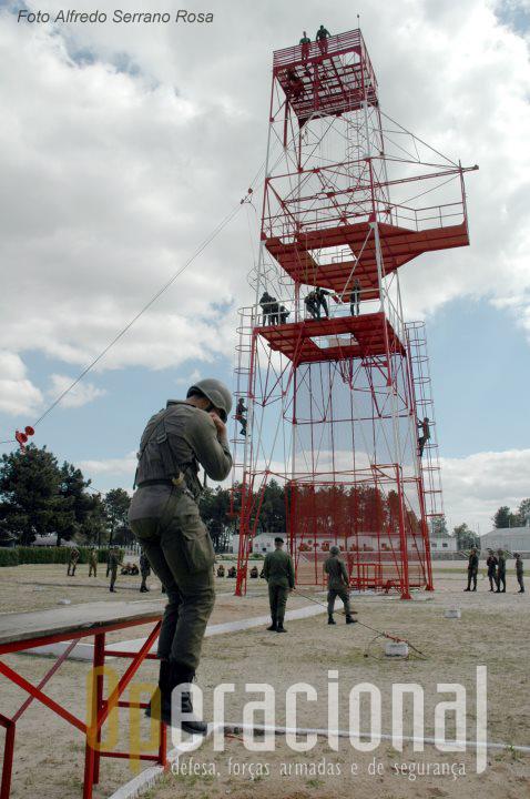 """A torre """"francesas"""" (hoje também conhecida por """"de aterragem"""") continua em serviço na Escola de Tropas Pára-quedistas."""