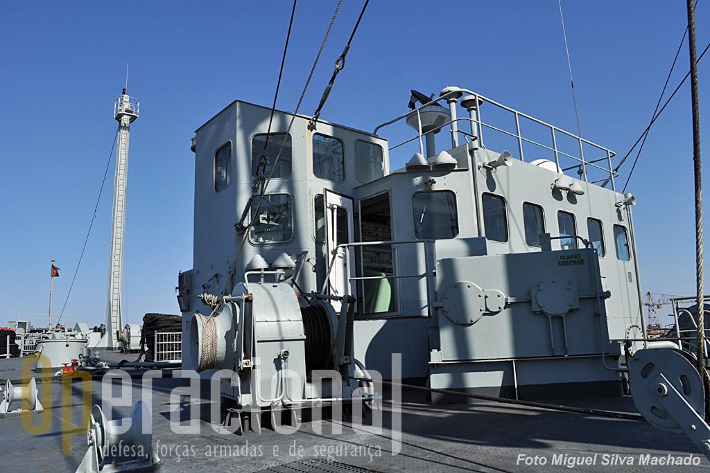 """A """"Casa RAS"""", a partir da qual se controla a bombagem de combustivel e manobram os guinchos. Durante as operações RAS, é por aqui, de onde esta foto foi capatada, que o Imediato controla esta operação."""