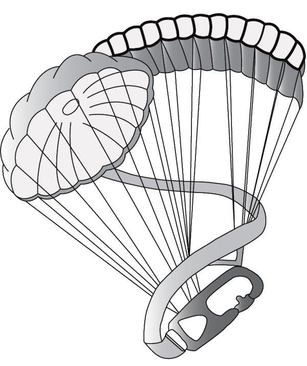 Desenho gráfico do distintivo de qualificação do Curso de «DOBRADOR DE EQUIPAMENTO AÉREO». (Foto Col. do autor)