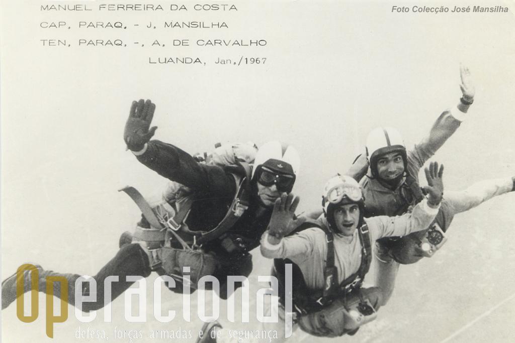 Angola, 1967: salto sobre Luanda (da esquerda), Ferreira da Costa, José Mansilha e Albano Carvalho