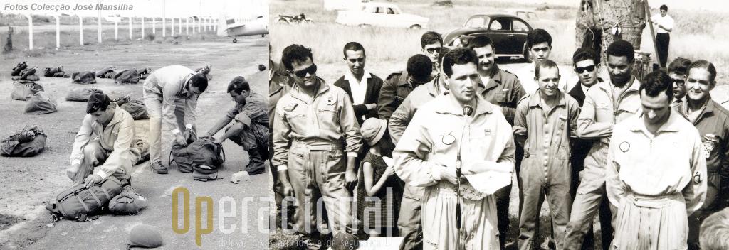 Foto da esquerda: Capitães Araújo e Mansilha, equipando; Foto da direita: começando pela esquerda, primeiro, cabo Castro, 5.º capitão engenheiro Miranda, 6.º Ferreira, 10.º Óscar de Lemos, 12.º Xavier.