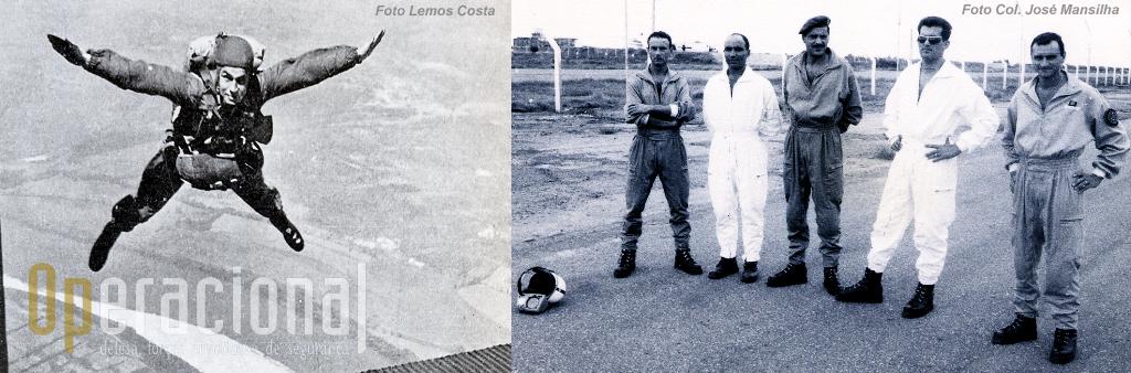 Tenente-coronel Fausto Marques salta sobre Tancos (à esquerda). Luanda (da Esquerda) Instrutores alferes Bessa, tenente Albano de Carvalho, major Marques da Costa e capitães Moutinho e Mansilha