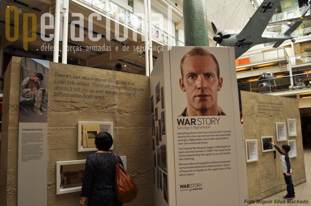 """A exposição temporária """"War Story:Serving in Afhganistan"""" tem um dos seus elementos logo na entrada do museu. Objectos pessoais, fotos, videos e entrevistas sobre o actual conflito neste país."""