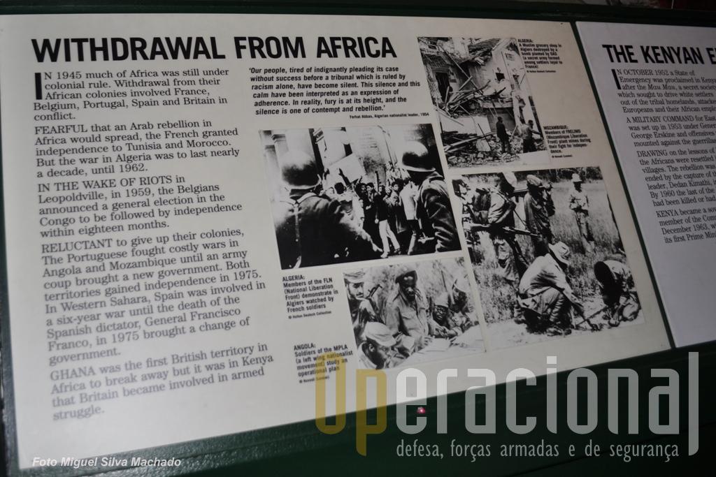 ...aqui está ela, uma breve referência á nossa Guerra do Ultramar e à descolonização. Pode ter sido falta de atenção nossa, mas nem no sector da 1.ª Guerra Mundial vimos a minima referência ao nosso esforço de guerra na Europa (integrados nas Forças Britânicas!)ou em África