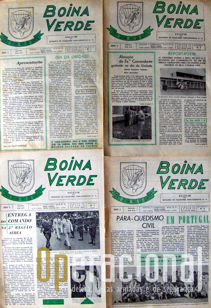 """Primeiros 4 exemplares do """"Boina Verde"""", em fomato e papel jornal, quinzenal, em 1965."""