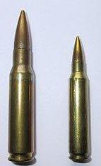 Comparativo das dimensões entre munições NATO 7,62mm e 5,56mm
