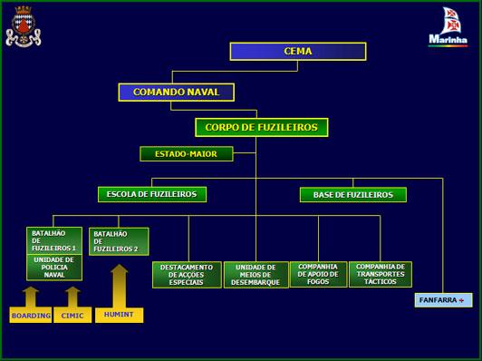 """A organização actual do Corpo de Fuzileiros remonta a 1994, tendo no entanto sido criadas algumas valências, """"residentes"""" nos dois batalhões: Pelotão de Abordagem; Destacamento de Cooperação Civil-Militar; Destacamento de Informações."""