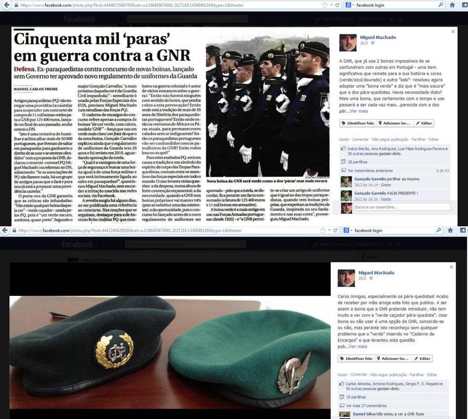 Ainda no próprio dia 26 de Fevereiro de 2013 publico no meu facebook, primeiro a noticia do DN e depois de receber as fotos por mão amiga, as duas boinas lado a lado...