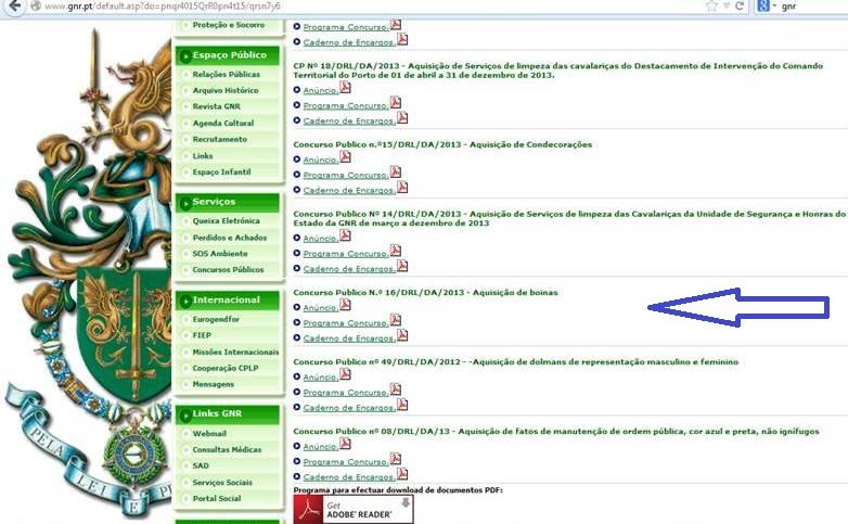 ...são documentos publicados em Diário da República e que o site oficial da GNR publicita.
