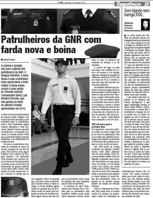 """O jornal """"O Crime"""" publica artigo sobre os novos uniformes em 13FEV2013."""