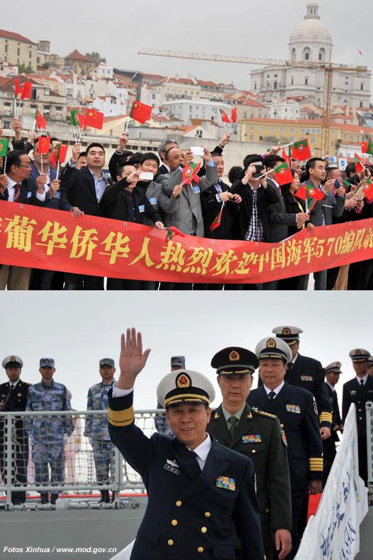 Manifestações de alegria por parte dos civis chineses residentes acolheram a 13.ª Esquadra em Valletta, Argel, Casablança, Lisboa e Toulon (Fotos do site do Ministério da Defesa da República Popular da China)