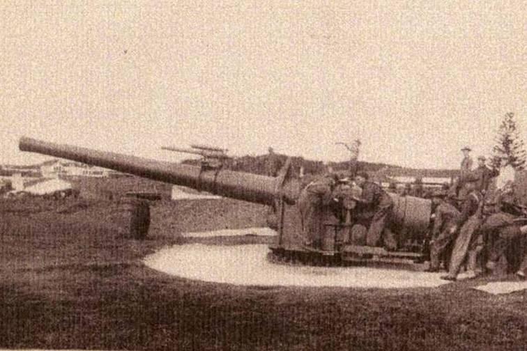 Boca de fogo americana de 7 polegadas, instalada em Ponta Delgada em 1918 (Foto Museu Militar dos Açores)