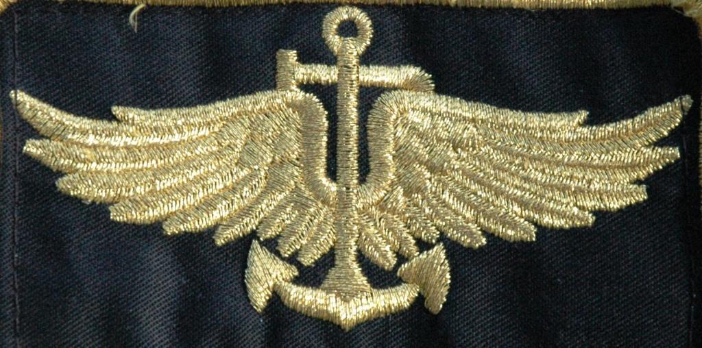"""As """"asas"""", vulgo """"brevet"""" usado pelos pilotos de Marinha no fato de voo. Trata-se da versão actual do """"brevet"""" de piloto da Aviação Naval (1917/1952)."""