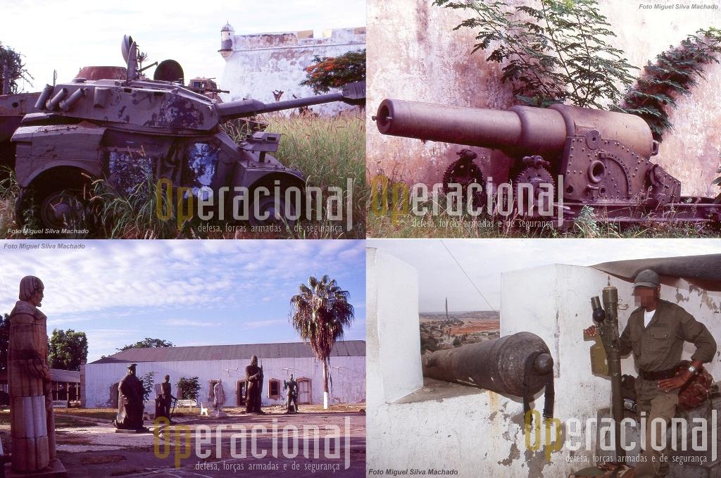 Estas imagens são de 1997 e mostram bem, por comparação, o trabalho agora executado. Em baixo à direita, em 2004, militar e arma que integrava a defesa aérea de Luanda a partir da fortaleza.
