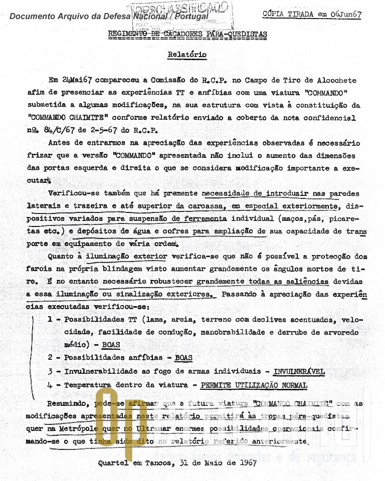 """Relatório do Regimento de Caçadores Pára-quedistas, recentemente desclassificado, onde oficiais pára-quedistas exprimem a sua opinião sobre os testes da """"Chaimite"""" a que assistiram"""