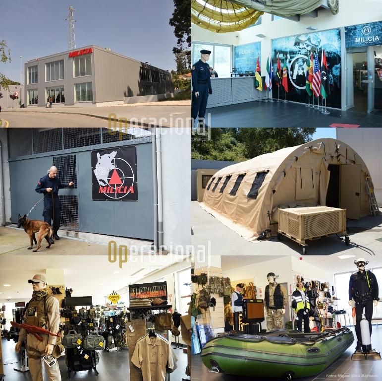 A sede do Grupo Milícia em Canidelo, Vila Nova de Gaia e algumas das suas áreas de exposição.