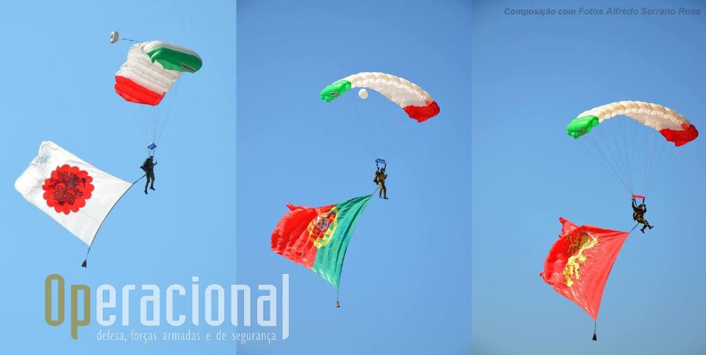 """Composição fotográfica com as três bandeiras que os """"Falcões Negros"""" desfraldaram nos céus de Tancos.A Bandeira Nacional, com 72 m2 (9x8) e é das maiores utilizadas no mundo em saltos em pára-quedas."""
