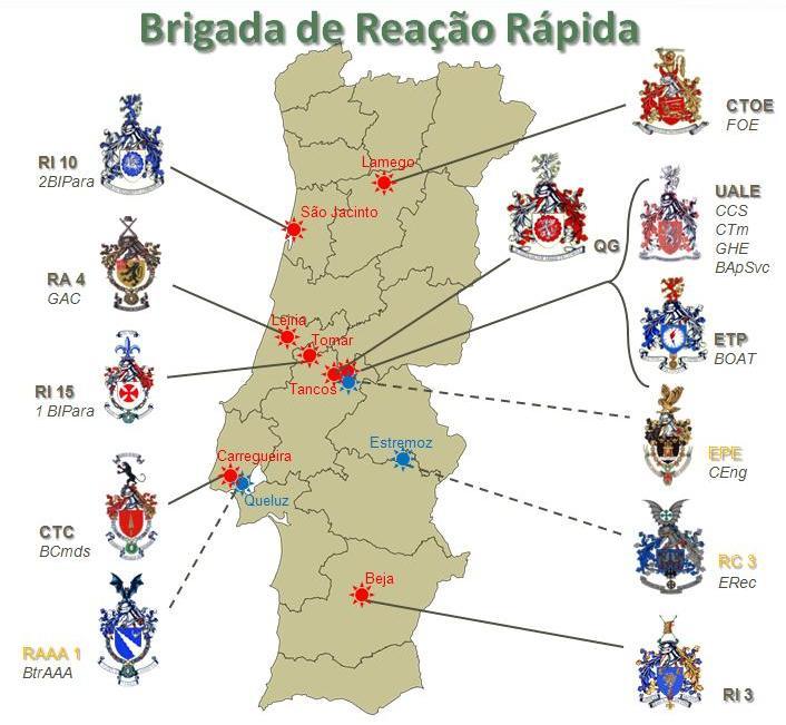 Dispositivo da Brigada de Reacção Rápida (Fonte: Exército Português)
