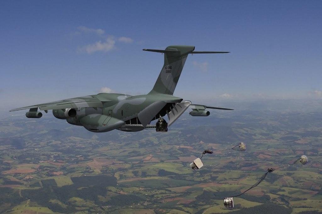 Visão artística do lançamento de cargas (Imagem EMBRAER)