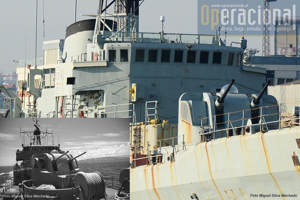 """O reparo duplo de 76mm US Mk33, armamento principal do navio instalado nas primeiras três unidades da Classe """"João Coutinho"""" e a ponte de comando."""