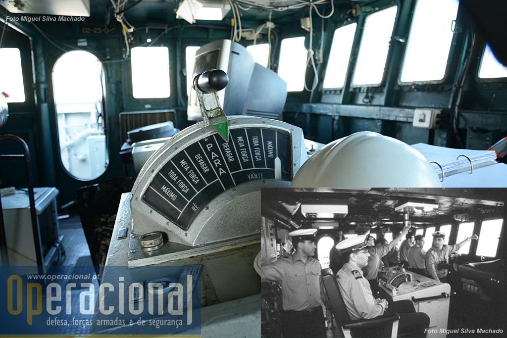 """Interior da ponte de comando hoje, e foto do mesmo local em actividade na """"João Coutinho"""" navegando nos Açores em 2002."""