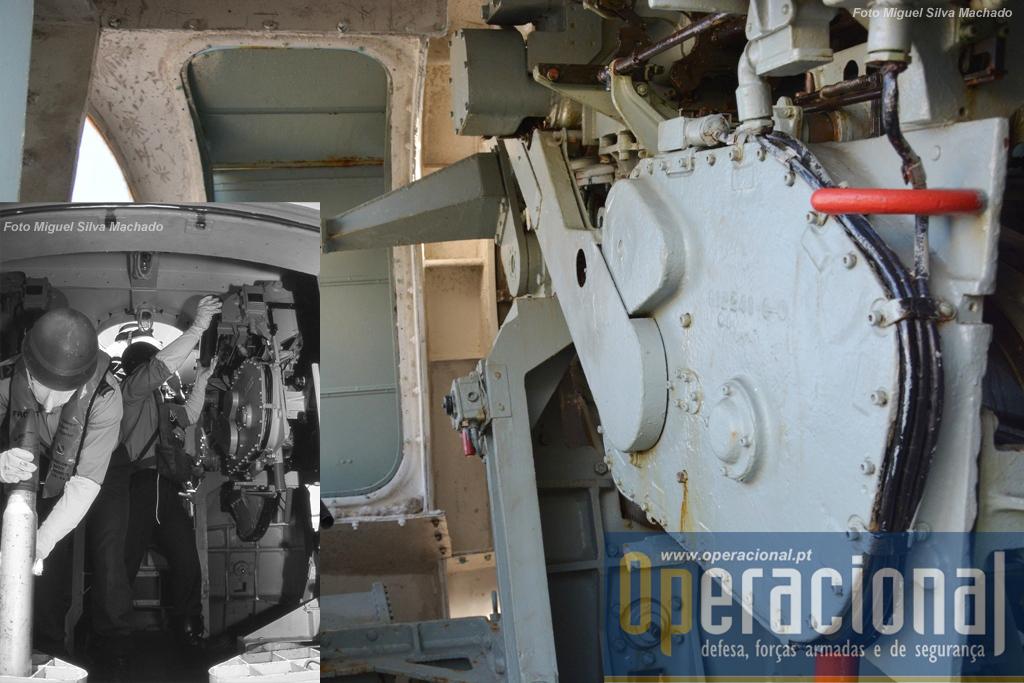 Interior do reparo duplo, cujas peças eram municiadas manualmente.