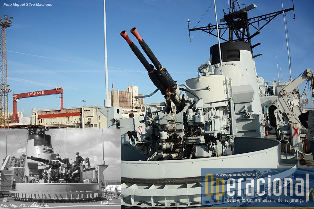 O reparo duplo Bofors de 40mm/60 que garantia a defesa contra alvos aéreos.