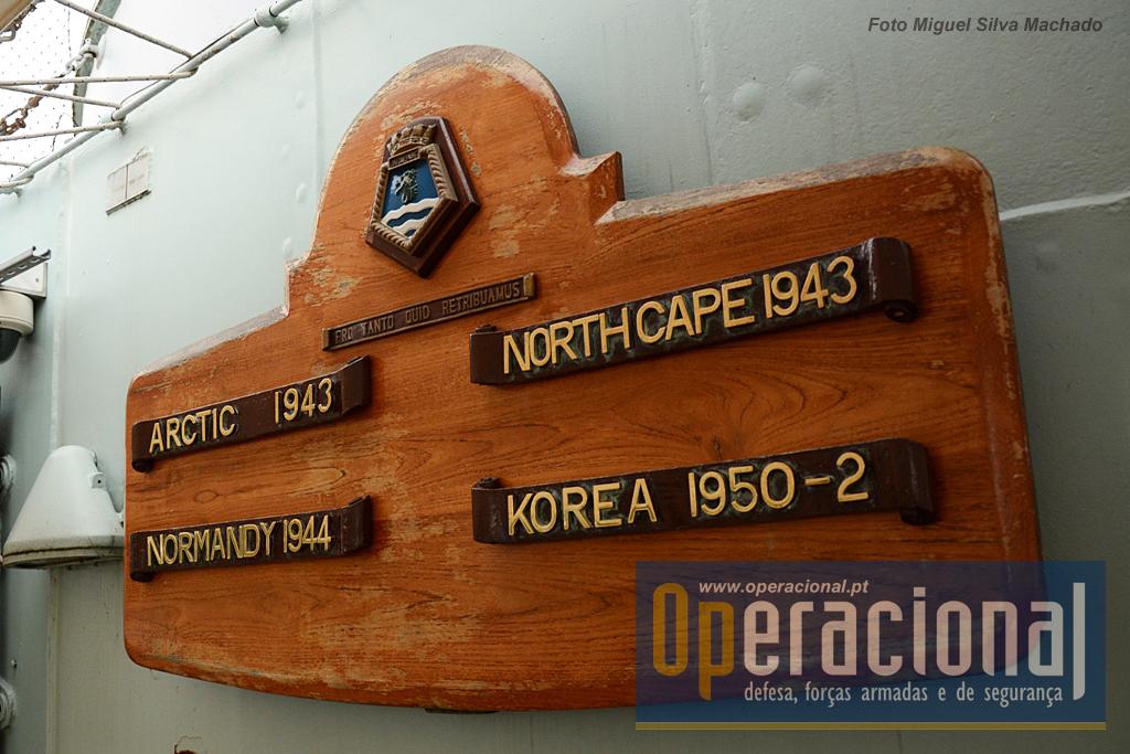"""As 4 principais campanhas do navio (que participou em outras, na Europa e na Ásia). Escolta a navios mercantes que cruzavam o Oceano Árctico em direcção à União Soviética; A batalha que afundou o cruzador alemão """"Scharnhorst""""; o bombardeamento das defesas alemãs em França no """"Dia-D""""; patrulha e bombardeamento no Mar Amarelo."""