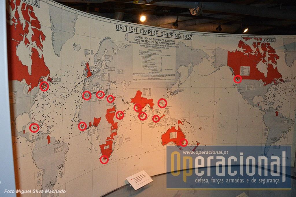 As bases navais que a Royal Navy utilizava em 1937, dois anos antes do segundo conflito mundial.