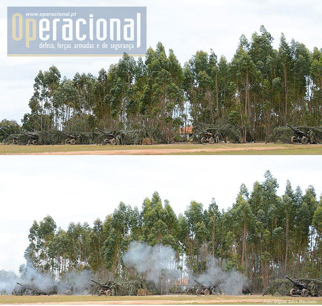Logo na chegada podemos assistir a uma primeira missão de tiro. As redes de camuflagem são parcialmente retiradas para os 6 obuses poderem fazer fogo, após o que são novamente cobertos, ou mudam de posição.