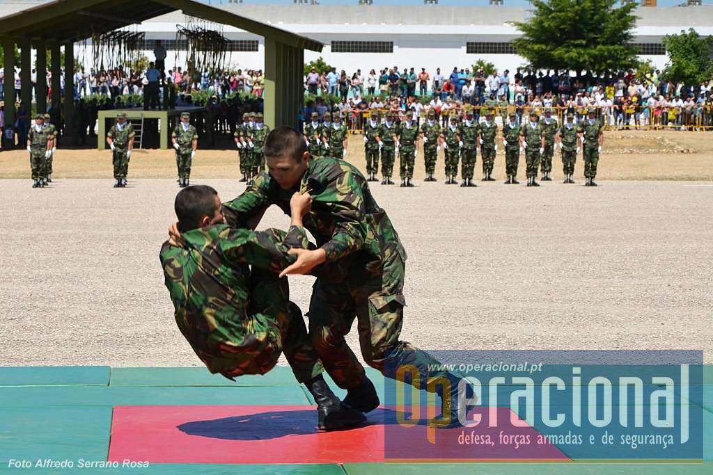 Na demonstração terrestre são executados diversos exercícios que reflectem de algum modo aquilo que foi ensinado nestas primeiras semanada de vida militar.