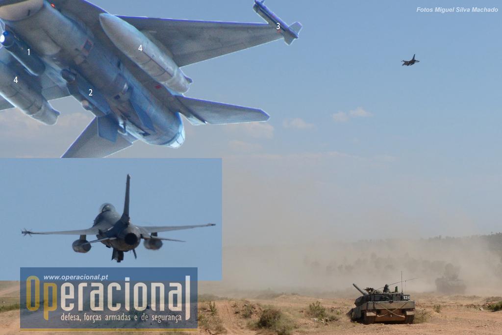 O apoio aéreo entra em acção. 1- Pod Lantirn AN/AAQ-14 Targeting Pod para aquisição de alvos terrestres 2 -Pod de contramedidas electrónicas ALQ-131. Confunde ameaças emitindo impulsos eléctricos e electrónicos diferentes do que inicialmente permitiram o reconhecimento inimigo. 3- Míssil ar-ar AIM-9 M Sidewinder, utilizado para combate a alvos relativamente próximos,  alcance + ou - 18km. 4 - Drop tanks de 600 galões, 2.271 litros de combustível, normalmente são utilizados no avião quando este vai cobrir grandes distâncias, são largaveis mas só acontece em caso de combate aéreo onde surge a necessidade de ficarem menos pesados e mais ágeis. (Obrigado Mário Diniz!)