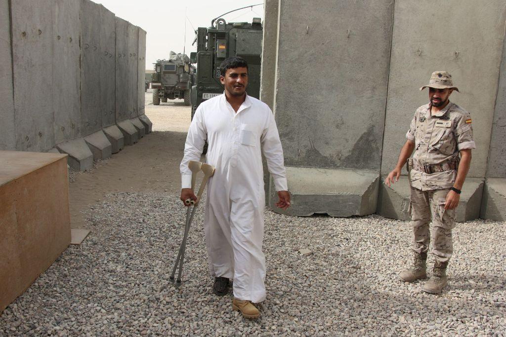 O soldado iraquiano Adnan Hatem Muzel qiue desde 2006 esperava por uma perna ortopédica.