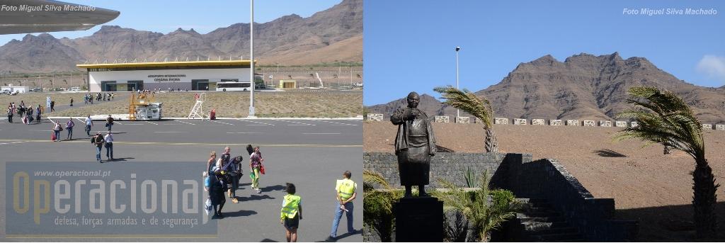 O terminal aeroportuário do aeroporto internacional do Mindelo, e Cesária Évora que lhe deu nome imortalizada no bronze.