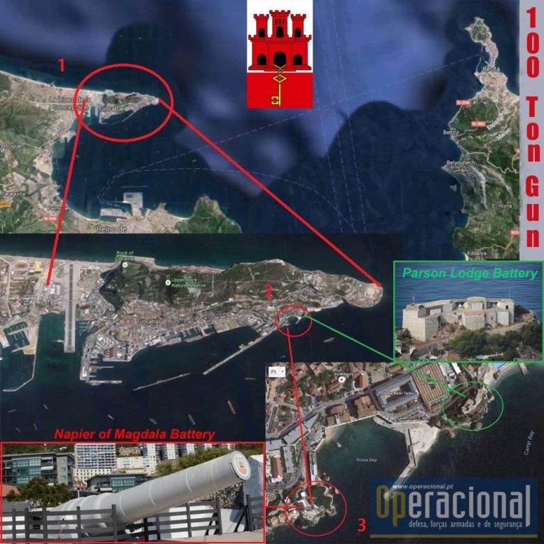 Gibraltar tem uma localização estratégica entre a Europa e África e a baía defendida pelo canhão de 100 toneladas, também tinha. Cobria toda a baía de Algeciras