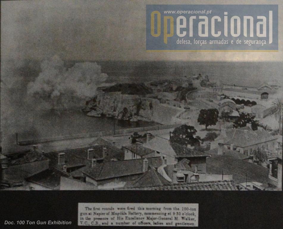 """Foto de jornal (Gibraltar Chronicle) relativa ao primeiro disparo do """"Supergun"""" em 1884."""