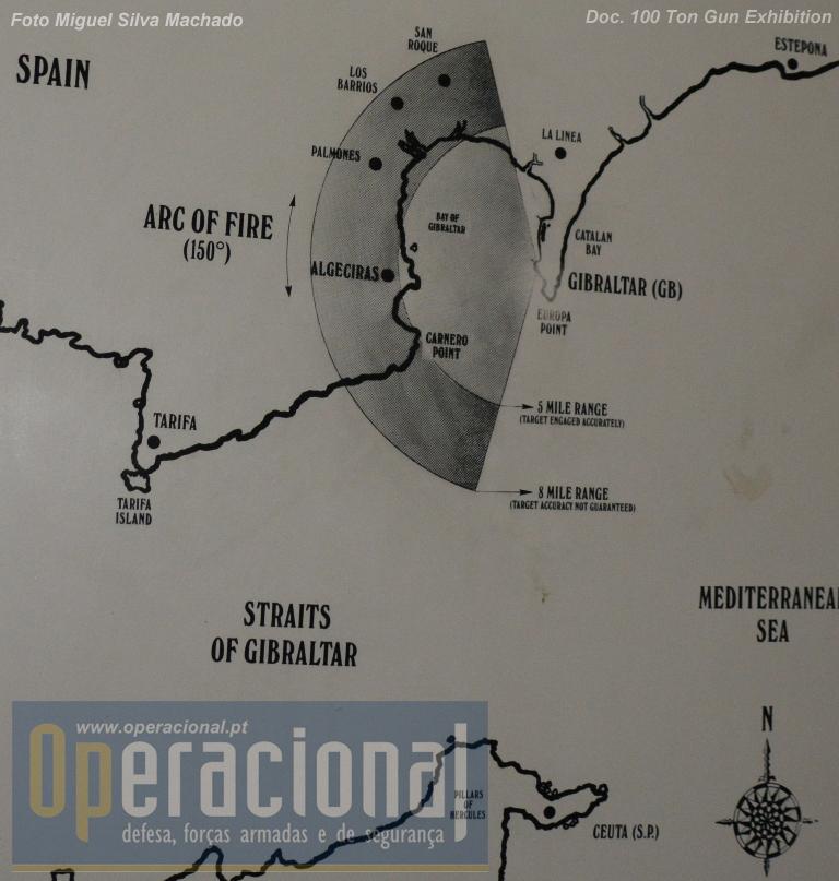 Diagrama ilustrando o alcance do canhão de 100 toneladas.