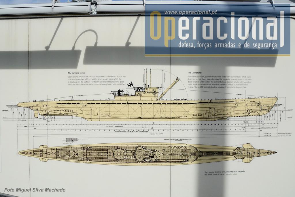 Diagrama do U-534. Todas as secções do submarino expostas estão muito be, explicadas através de legendas e destes painéis.