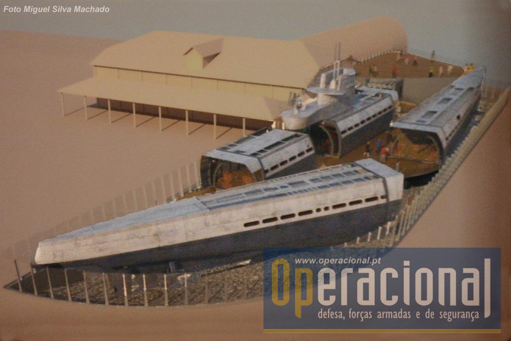 Maqueta da situação actual do submarino e museu.