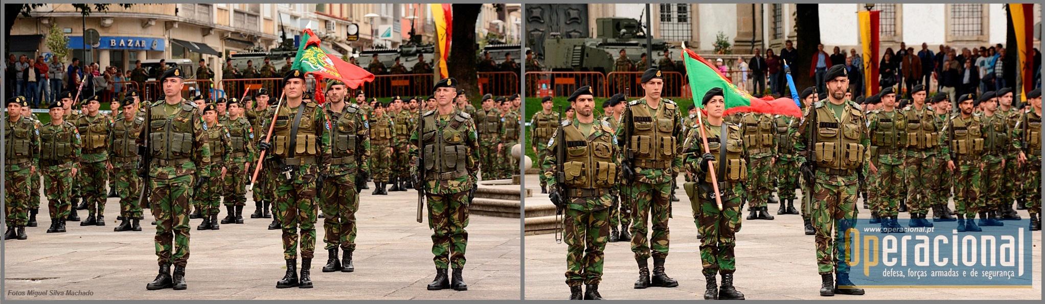 Os Estandartes Nacionais das duas Forças Nacionais Destacadas, durante o treino para a sua derradeira cerimónia militar.
