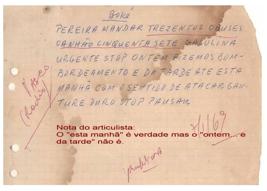 Bilhete enviado por Pansau na Isna a Aristides Pereira enquanto decorria o ataque a Ganturé. Documento cedido pela Fundação Mário Soares.