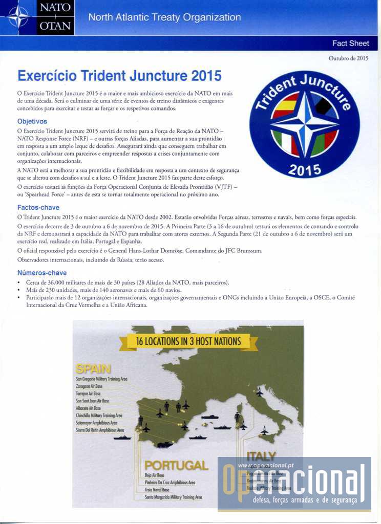 Informação genérica sobre o exercício distribuída em Portugal.