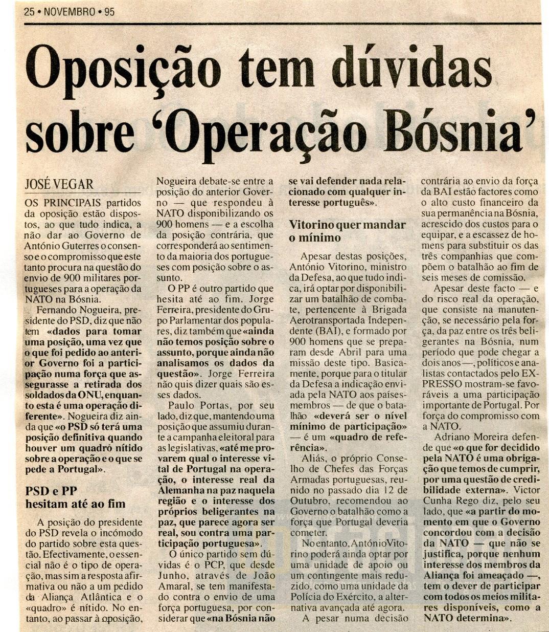 """Jornal """"Expresso"""", 25 de Novembro de 1995"""