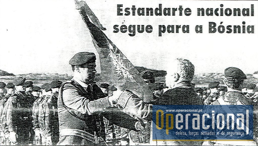 Área Militar de S. Jacinto, 15 de Janeiro de 1996. O Presidente da República entregou ao 2.º Batalhão de Infantaria Aerotransportado da Brigada Aerotransportada Independente do Exército Português o Estandarte Nacional.