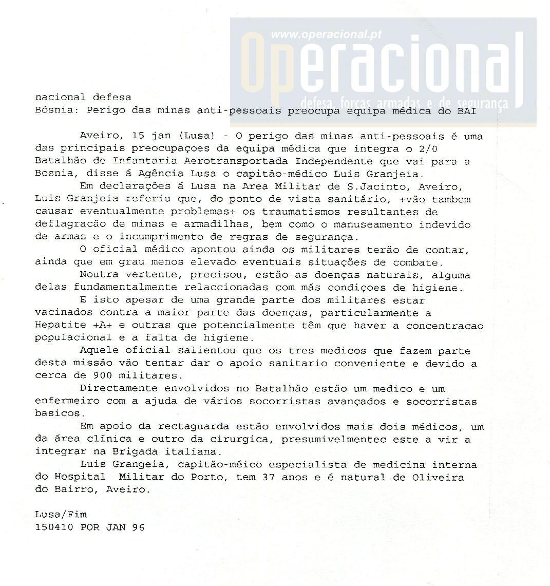 """15JAN96 - """"Agência Lusa"""""""