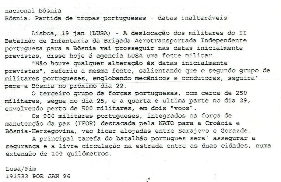 19JAN1996 - Agência LUSA