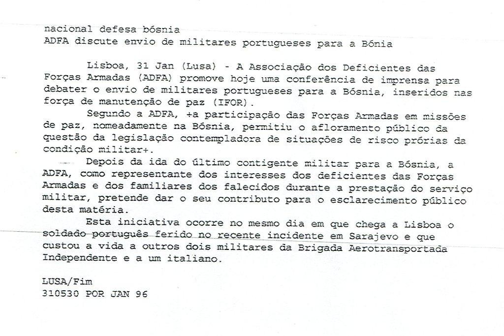 31JAN1996 - Agência LUSA