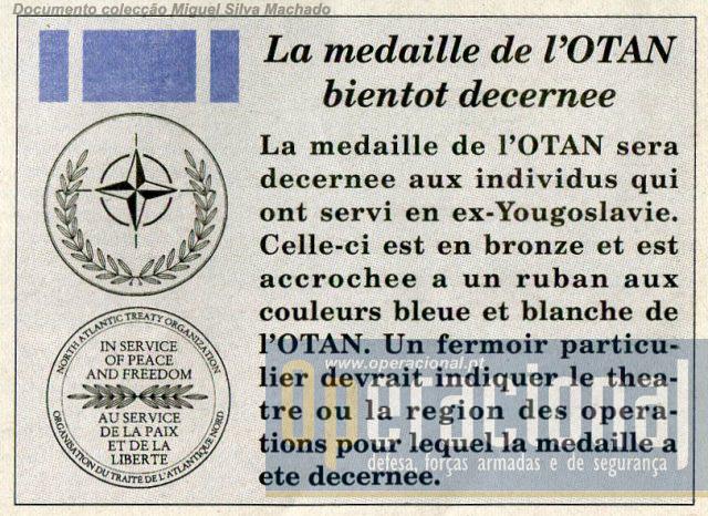 Também no primeiro exemplar do jornal era dado conhecimento da criação da Medalha NATO/OTAN.