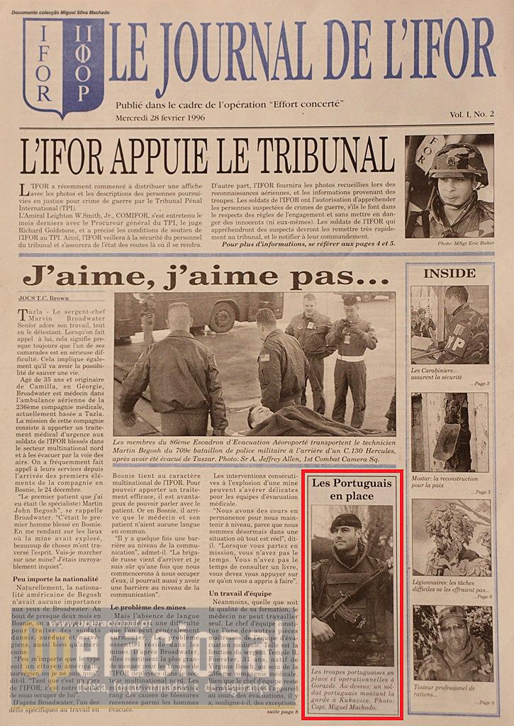 A segunda edição do jornal dava destaque de primeira página à chegada dos portugueses a Gorazde, a cidade que viveu cercada durante anos.