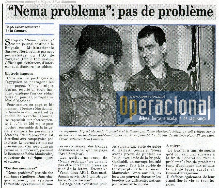 """Ainda neste número, artigo dedicado ao """"órgão de informação"""" da brigada de comando italiano, o """"Nema Problema"""" que contava naturalmente com a colaboração dos portugueses."""